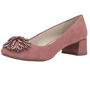 Anne Klein Happy Dusty Pink Pom Pom Suede Heels